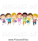 Vector Clipart of a Diverse Stick Children in a Line by BNP Design Studio