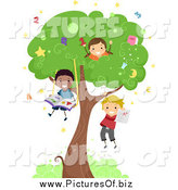 Vector Clipart of a Diverse Stick Children Playing in a Tree by BNP Design Studio