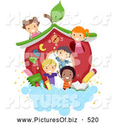 Vector Clipart of a Diverse Stick School Kids by a House in the Clouds by BNP Design Studio
