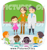 Vector Clipart of a Diverse Stick Students on Parents Day in School by BNP Design Studio