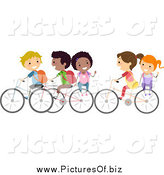 Vector Clipart of a Diverse Stick Students Riding Bikes to School and Waving by BNP Design Studio