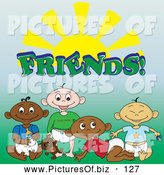 Vector Clipart of a Ethnic Group of Black, White, Indian and Asian Baby Boy Friends Under the Word and Sun by Pams Clipart