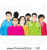 Vector Clipart of a Ethnically Diverse Group of Friendly People by David Rey
