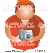 Vector Clipart of a Faceless White Man Holding a Camera by Prawny