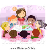June 15th, 2014: Vector Clipart of a Female Teacher Reading to Diverse Stick Students by BNP Design Studio