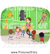 Vector Clipart of a Female Teacher with Diverse Stick Students at a Zoo by BNP Design Studio