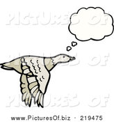 Vector Clipart of a Flying Thinking Goose by Lineartestpilot