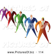 Vector Clipart of a Friendly Diverse Team of Businessmen in Colorful Suits by Prawny