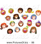 Vector Clipart of a Friendly Happy Crowd of Smiling Colorful People by Prawny