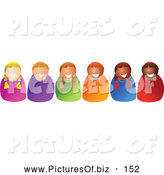 October 31st, 2013: Vector Clipart of a Friendly Row of Happy Diverse Children Smiling by Prawny