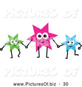Vector Clipart of a Friendly Team of Colorful Stars Holding Hands by Prawny