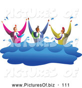 October 12nd, 2013: Vector Clipart of a Friendly Team of Diverse Men Drowning in Water by Prawny