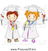 Vector Clipart of a Graduating Boy and Girl in White Gowns by BNP Design Studio