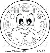 Vector Clipart of a Grayscale Wall Clock Character by Visekart