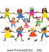 Vector Clipart of a Group of 3 Lines of Happy Diverse Boys and Girls Holding Hands by Prawny