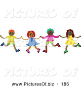 Vector Clipart of a Group of 4 Happy Diverse Children Holding Hands and Running by Prawny