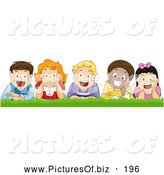 Vector Clipart of a Group of 5 Happy Diverse Boys and Girls Laying in Grass by BNP Design Studio