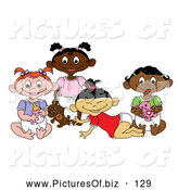 Vector Clipart of a Group of Black, White, Indian and Asian Baby Girls on White by Pams Clipart