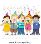 Vector Clipart of a Group of Children Blowing Party Horns by BNP Design Studio