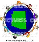 Vector Clipart of a Group of Children Holding Hands Around an Arizona Globe by Djart