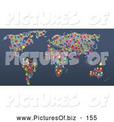 Vector Clipart of a Group of Colorful and Diverse People Scattered on a Map by Prawny