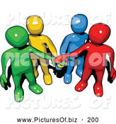 Vector Clipart of a Group of Colorful People Forms with Piled Hands by 3poD