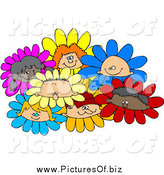Vector Clipart of a Group of Diverse Children Flowers by Djart