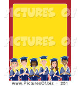 Vector Clipart of a Group of Diverse Male and Female Students on Graduation Day, on a Red and Yellow Stationery Background by Maria Bell