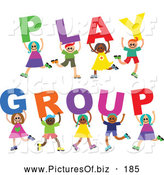Vector Clipart of a Group of Eight Diverse Children Spelling Play Group by Prawny