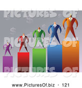 Vector Clipart of a Group of Five Businessmen Standing on a Graph by Prawny