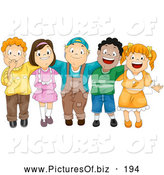 Vector Clipart of a Group of Five Cute Happy Diverse Children with Their Arms Around Each Other by BNP Design Studio