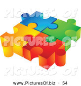 Vector Clipart of a Group of Four Colorful Diverse 3d Puzzle Pieces Inter Locked by Cidepix