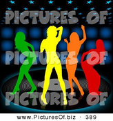 October 12nd, 2012: Vector Clipart of a Group of Four Colorful Silhouetted Women Dancing on a Large Vinyl Record over a Black Background with Blue Lights by Dero