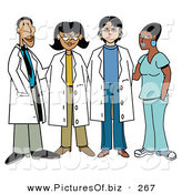 Vector Clipart of a Group of Four Diverse Female Doctors with One Male Doctor by Andy Nortnik
