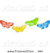 November 6th, 2012: Vector Clipart of a Group of Four Diverse Red, Yellow, Green and Blue Butterflies by Prawny