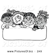 Vector Clipart of a Group of Four Diverse School Children Smiling at Each Other While Holding up a Blank Sign by C Charley-Franzwa