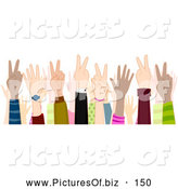October 29th, 2013: Vector Clipart of a Group of Hands Gesturing Peace Sign by BNP Design Studio
