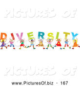 Vector Clipart of a Group of Happy and Smiling Children Holding Letters Spelling Diversity by Prawny
