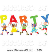 Vector Clipart of a Group of Happy and Smiling Diverse Children Spelling Party by Prawny