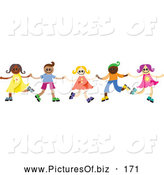Vector Clipart of a Group of Happy Diverse Children Dancing and Holding Hands Together by Prawny