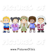 Vector Clipart of a Group of Happy Diverse Children from Different Cultures Holding Hands by BNP Design Studio