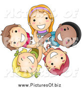 Vector Clipart of a Group of Happy Diverse Kids Looking up by BNP Design Studio