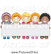 Vector Clipart of a Group of Happy Diverse School Kids Behind a Blank Sign by BNP Design Studio