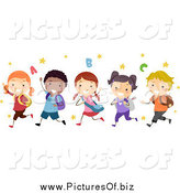 Vector Clipart of a Group of Happy Diverse Stick Students Running by BNP Design Studio