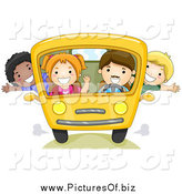 Vector Clipart of a Group of Happy School Kids on a Bus by BNP Design Studio