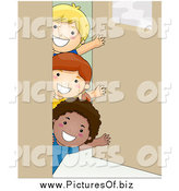 Vector Clipart of a Group of Happy School Kids Waving Around a Classroom Door by BNP Design Studio