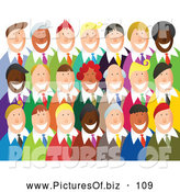 Vector Clipart of a Group of Happy Smiling Business Team over White by Prawny
