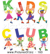 Vector Clipart of a Group of Smiling Diverse Children Spelling Kids Club by Prawny