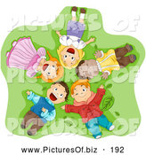 Vector Clipart of a Group of Smiling Happy Diverse Children Laying on Their Backs in Grass, Looking up by BNP Design Studio