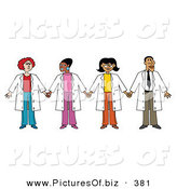 Vector Clipart of a Group of Three Ethnic Female Doctors with One Male Doctor by Andy Nortnik